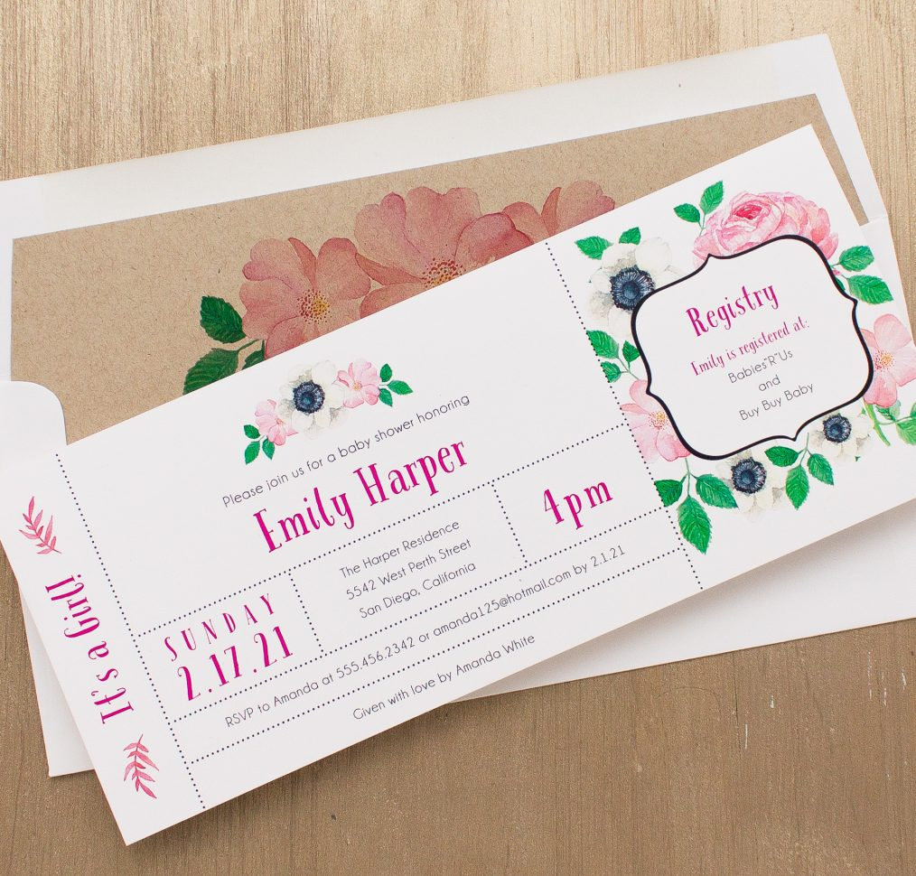 Pretty In Pink Baby Shower Invitation