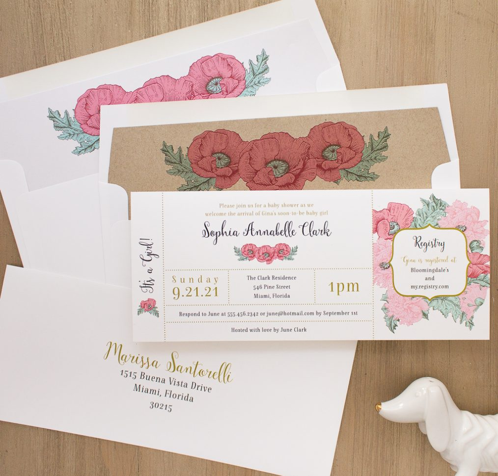 Rosies and Posies Baby Shower Invite