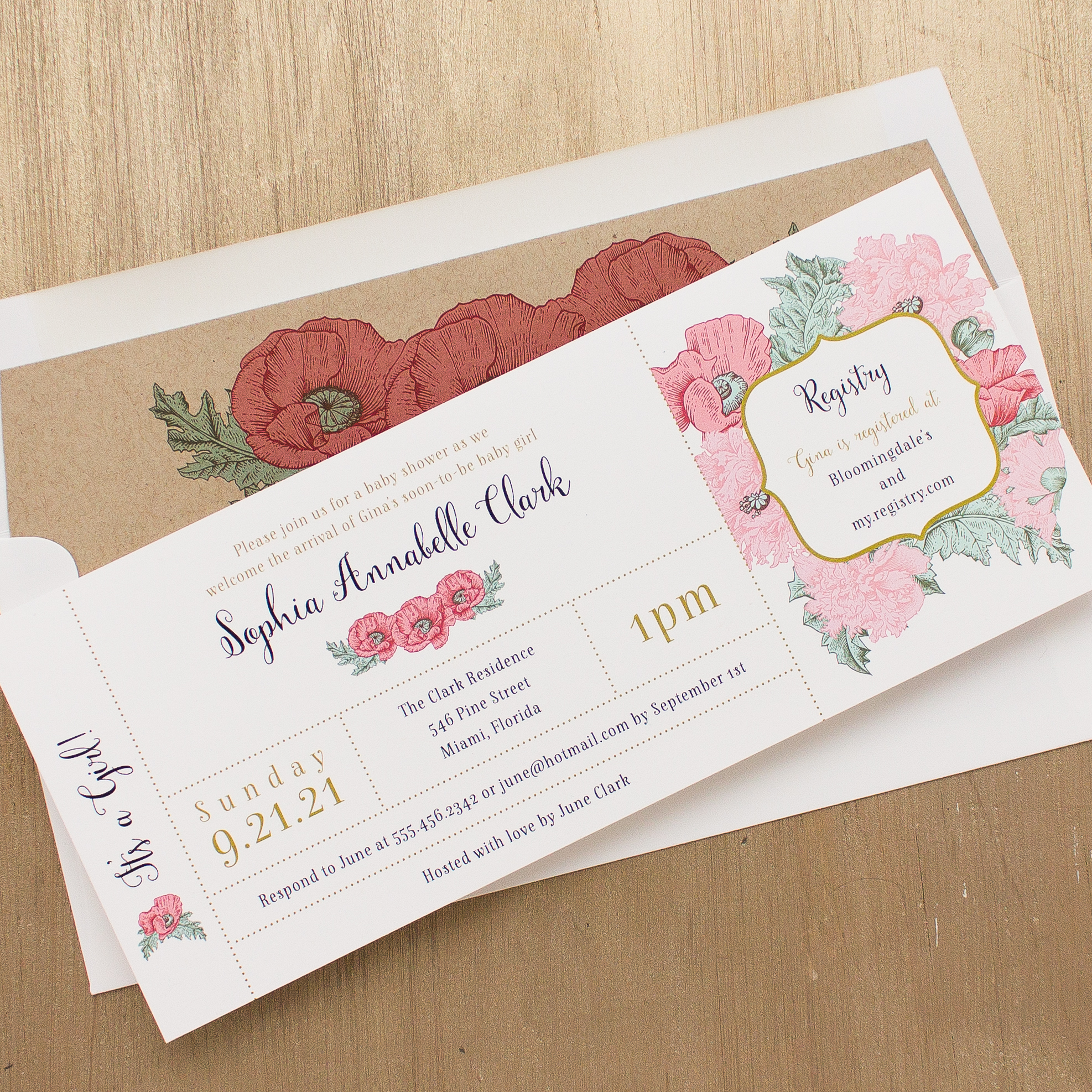 Rosies & Posies Baby Shower Invitations
