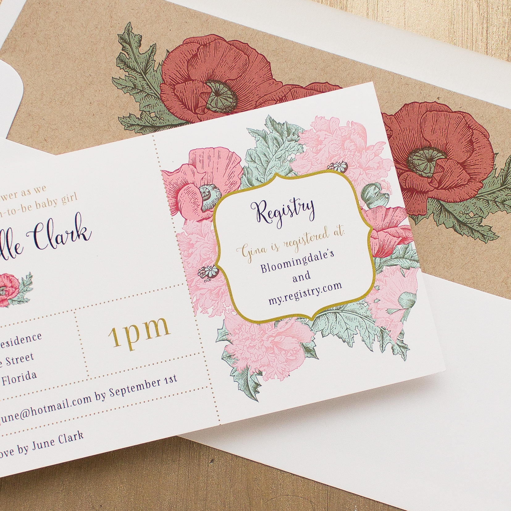Rosies & Posies Baby Shower Invites With Envelope Liners ...