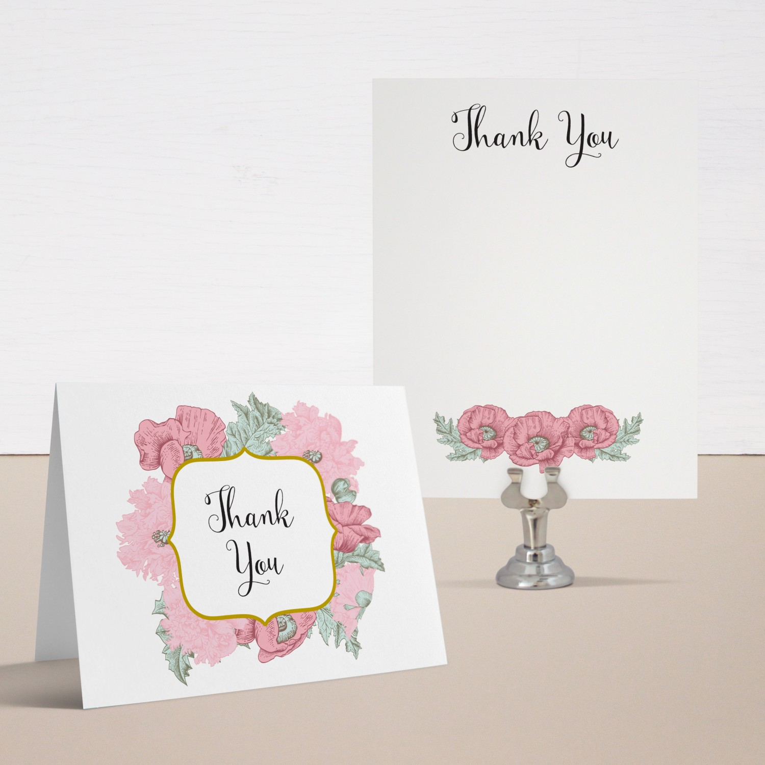 Rosies & Posies Baby Shower Thank You Cards