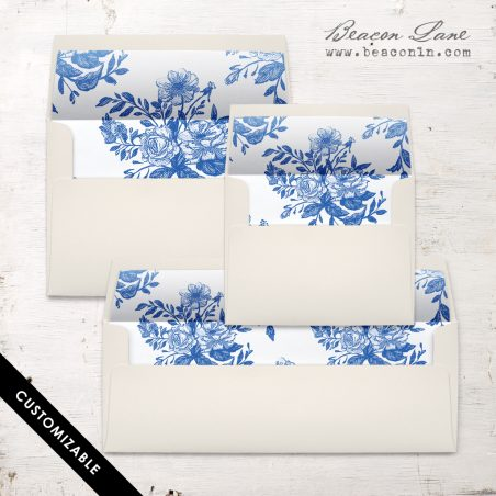 Blue Bouquet Envelope Liner