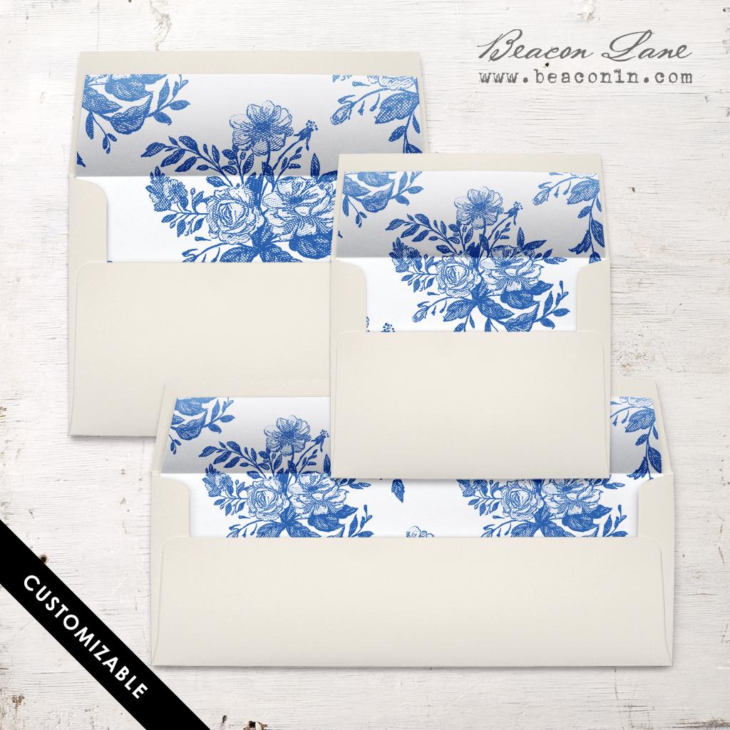 Blue Bouquet Envelope Liner
