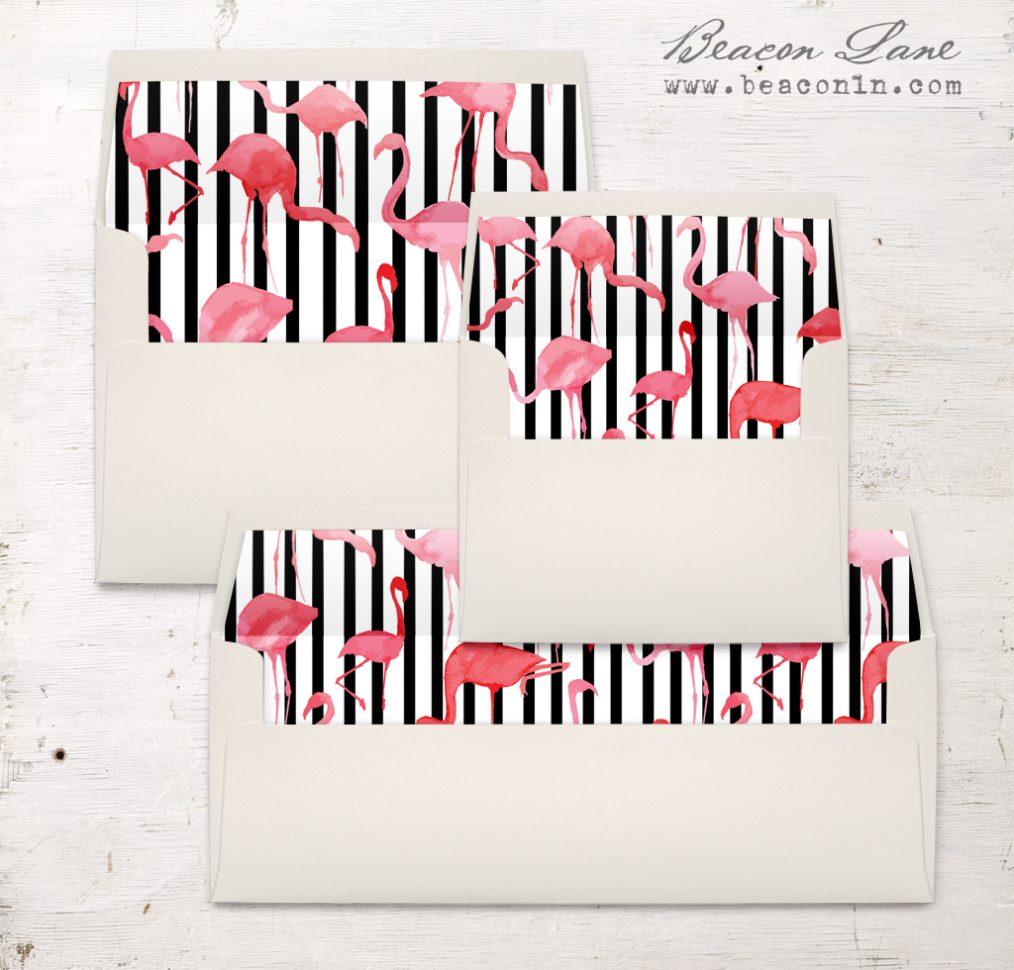 Striped Flamingo Envelope Liner