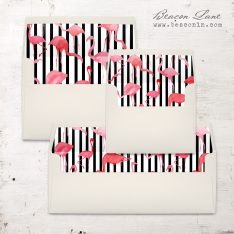 Striped Flamingo Envelope Liner