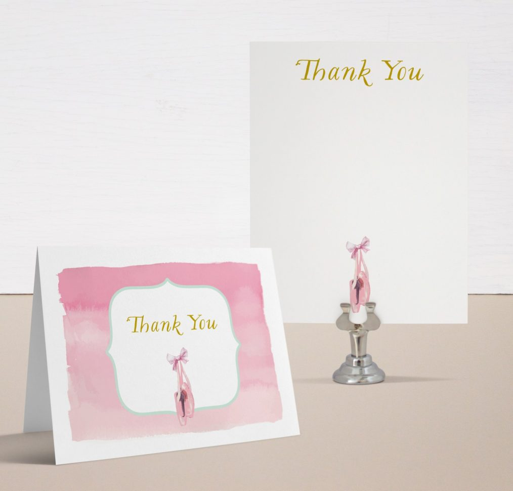 Sweet Ballerina Baby Shower Thank You Cards