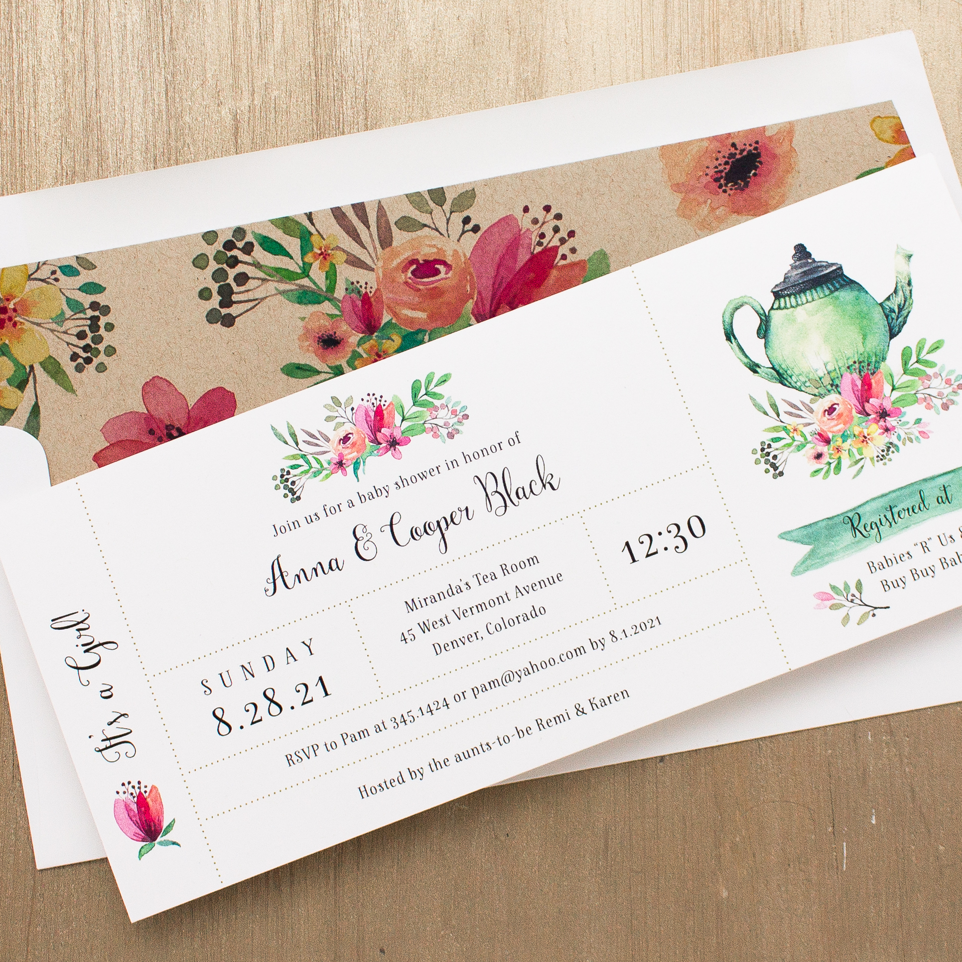 Tea Time Baby Shower Invitations With Envelope Liners