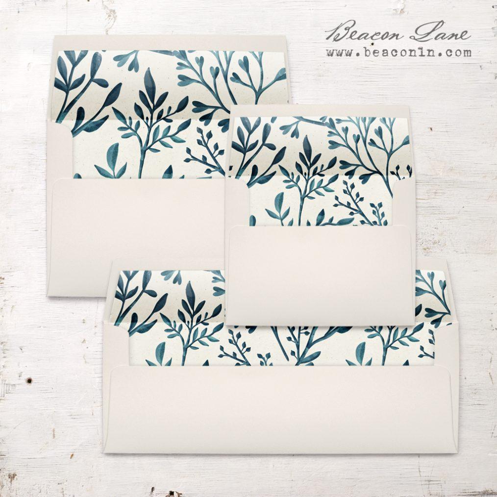 Teal Branches Envelope Liner