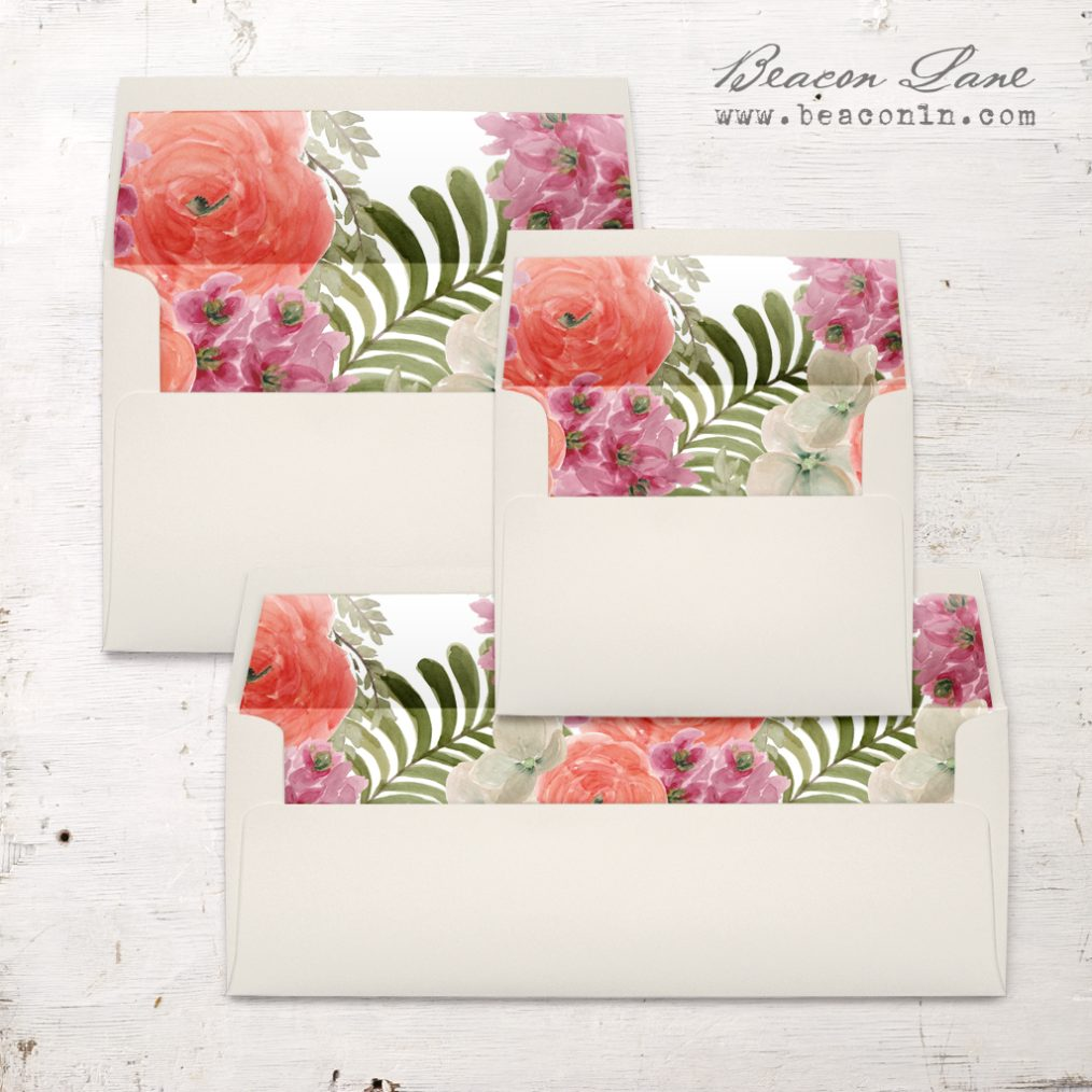 Tropical Rose Envelope Liner