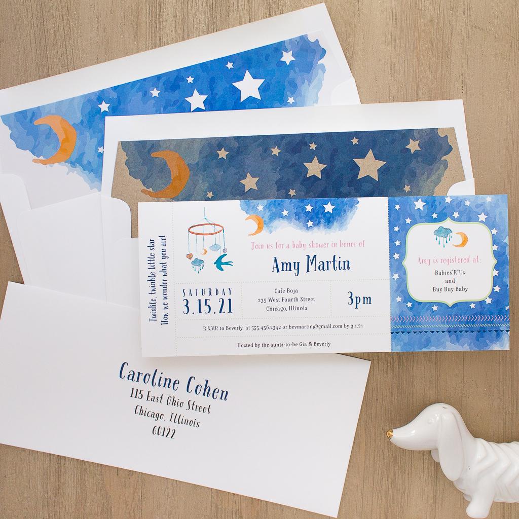 Twinkle Twinkle Little Star Baby Shower Invitations