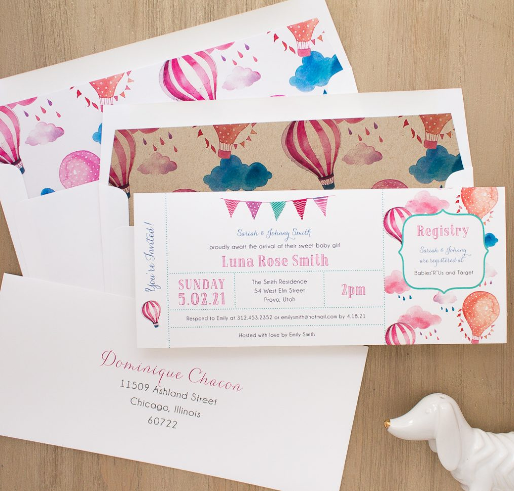 Up In The Air Baby Shower Invite