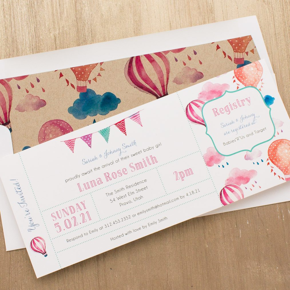 Up In The Air Baby Shower Invitation