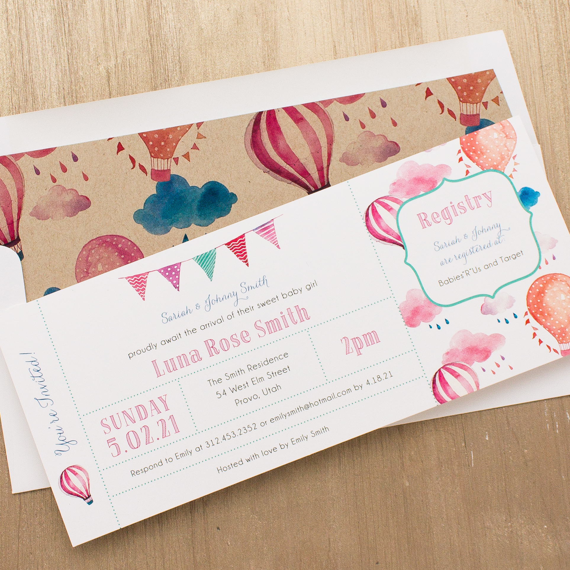 Up In The Air Baby Shower Invitations
