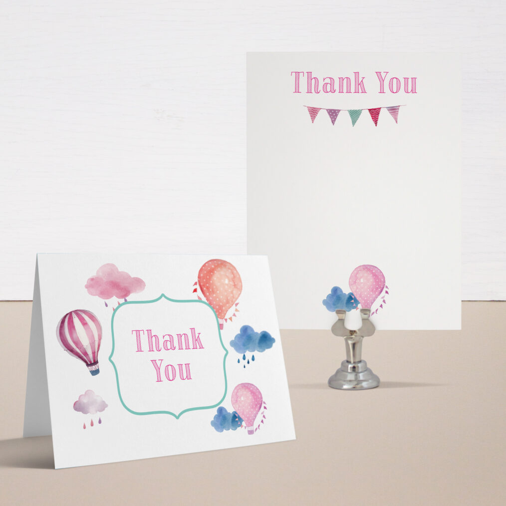 Up In the Air Baby Shower Thank You Cards