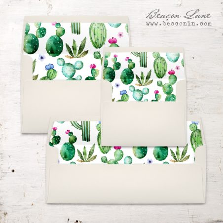 Watercolor Cactus Envelope Liner