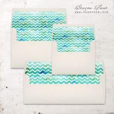 Watercolor Chevron Envelope Liner