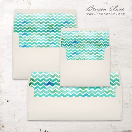 Watercolor Chevron Envelope Liner