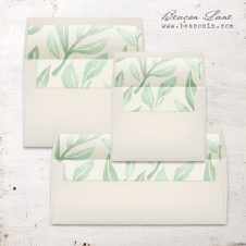 Watercolor Leaves Envelope Liner