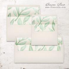 Watercolor Leaves Envelope Liner