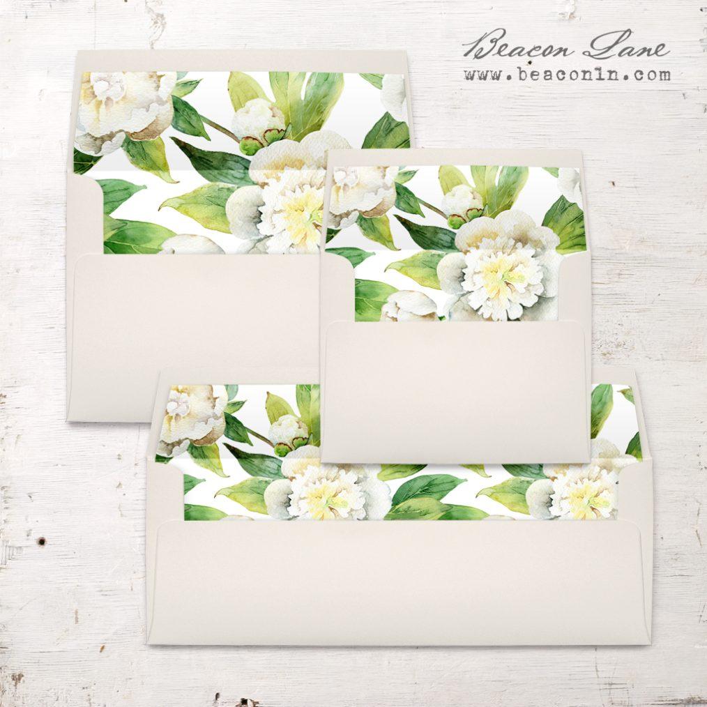 Watercolor Peony Envelope Liner