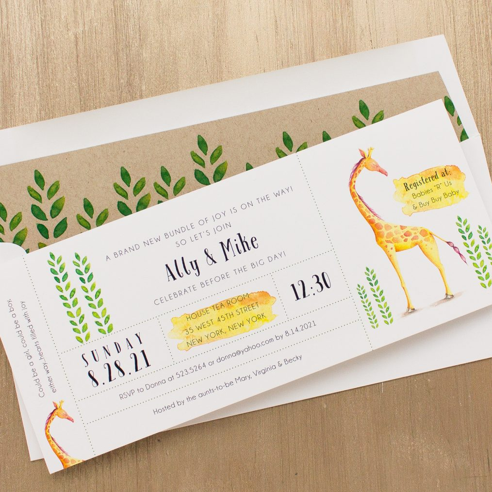 Yellow Giraffe Baby Shower Invitations