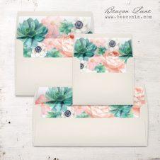 Blush Succulent Envelope Liner