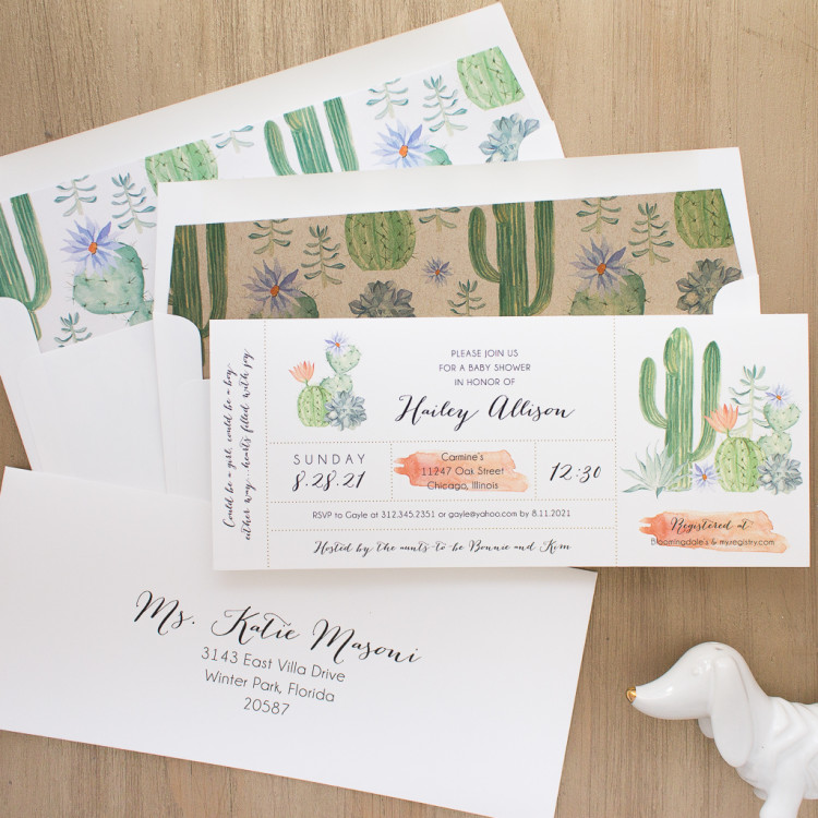 Top Baby Shower Themes | Cactus Blooms Baby Shower Invites by Beacon Lane