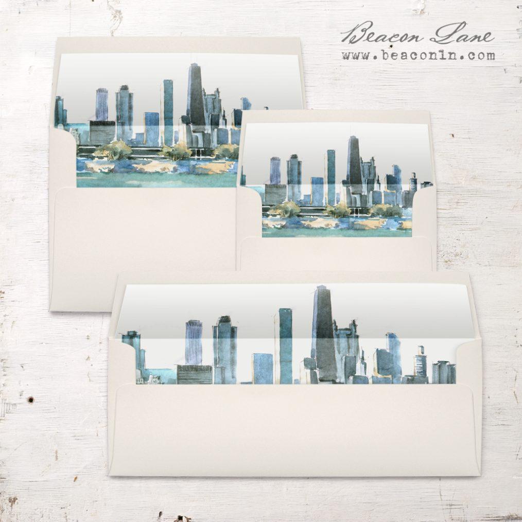 Chicago Watercolor Envelope Liner