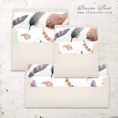 Feather Boho Envelope Liner