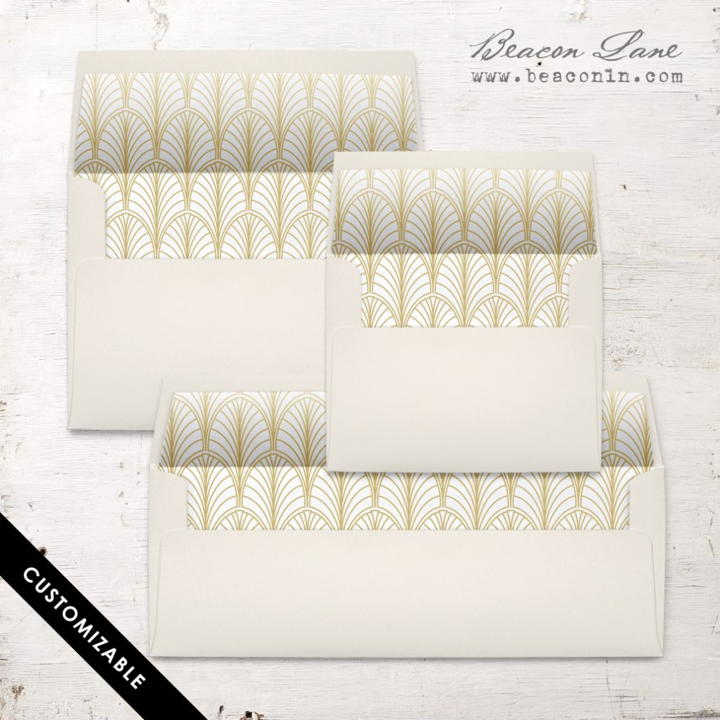 Gold Leaves Envelope Liner