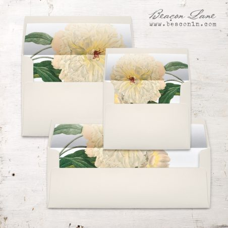 Ivory & Gold Peony Envelope Liner