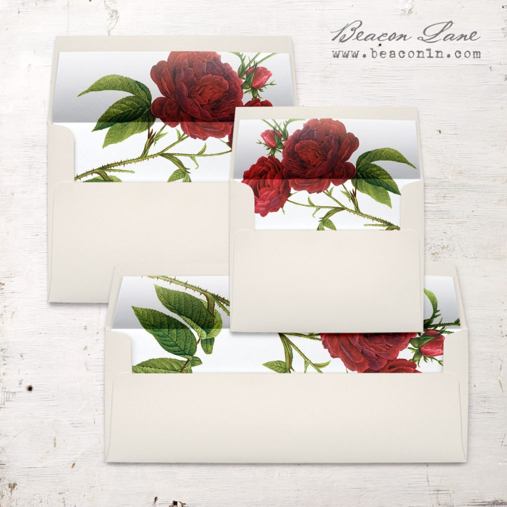 Jewel Tone Rose Envelope Liner