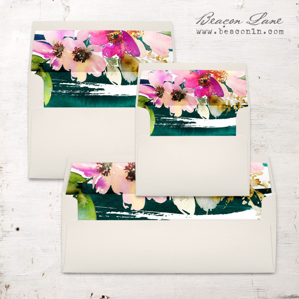 Painted Floral Envelope Liner