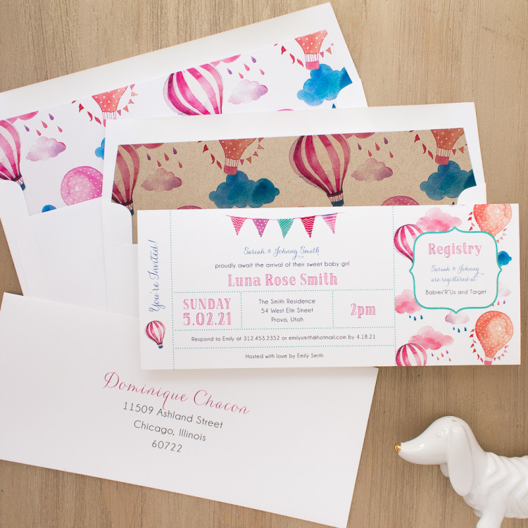 Top Baby Shower Themes |Up In The Air Baby Shower Invites by Beacon Lane