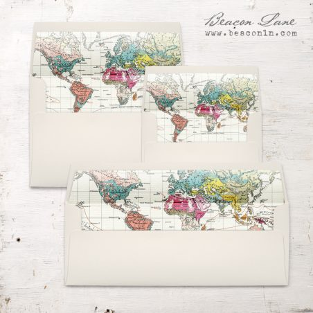 Vintage Map Envelope Liner