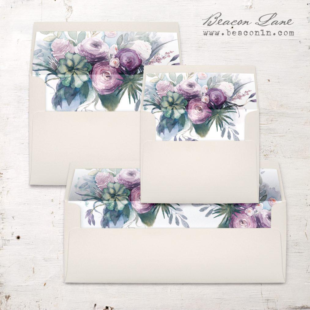 Watercolor Rose Envelope Liner
