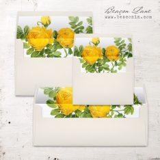 Yellow Garden Rose Envelope Liner