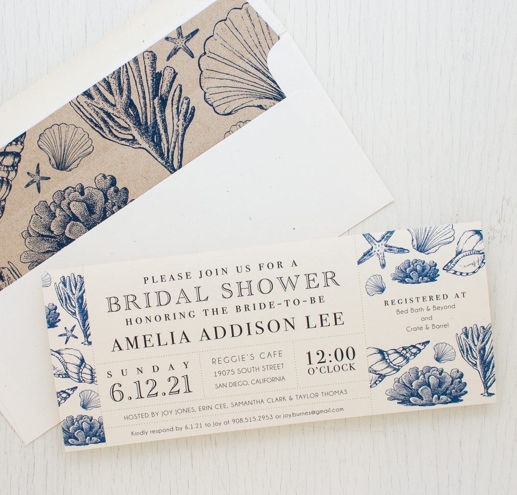 Beach Blues Bridal Shower Invitations