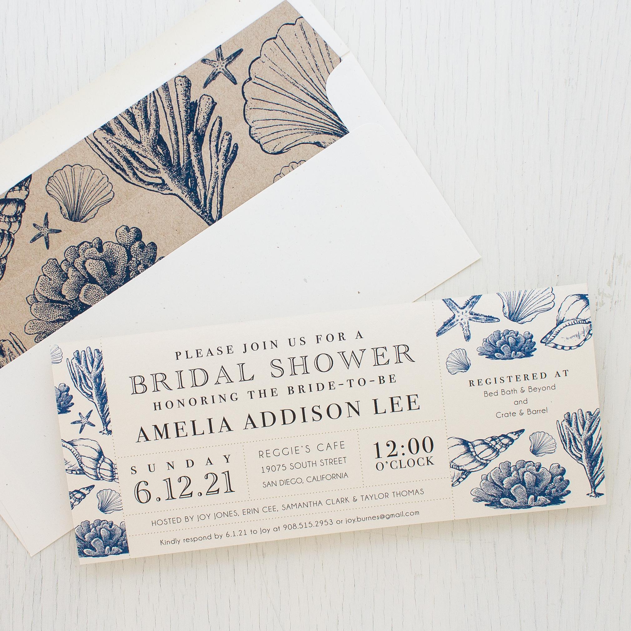 Beach blues bridal shower invitations beacon lane beach blues bridal shower invitations filmwisefo