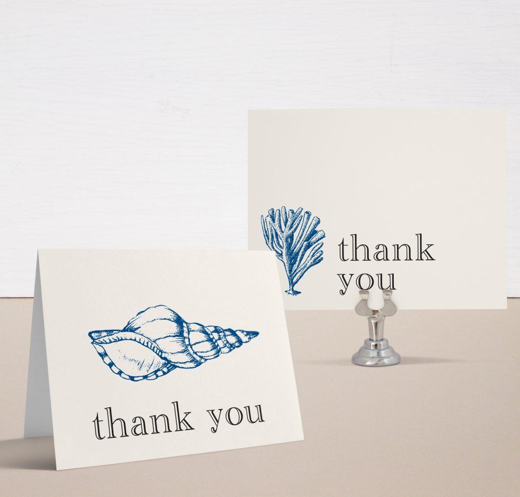 Beach Blues Bridal Shower Thank You Cards