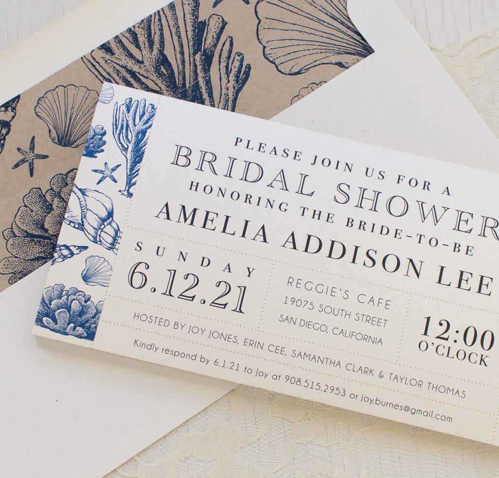 Beach Blues Bridal Shower Invitation