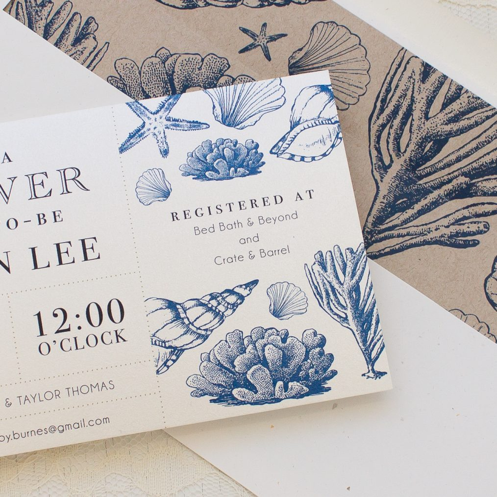 Beach Blues Bridal Shower Invitation