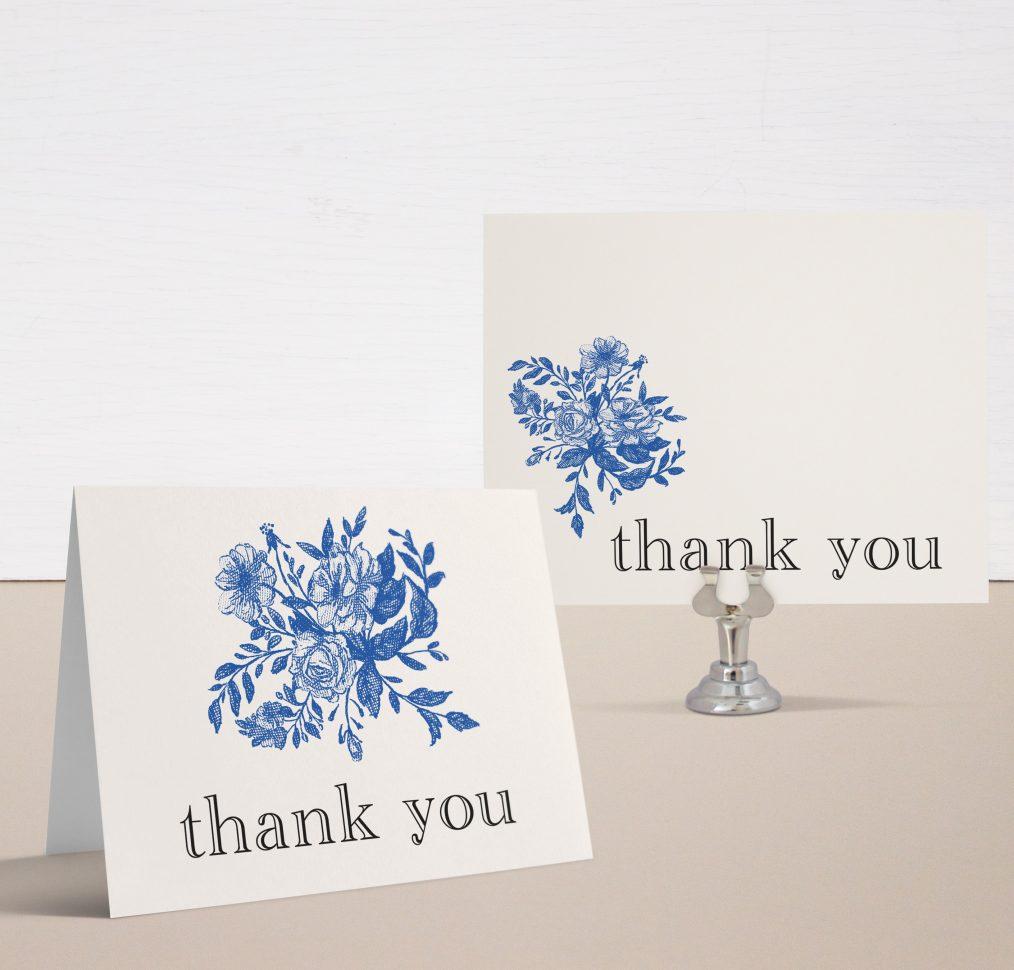 Blue Bouquet Bridal Shower Thank You Cards