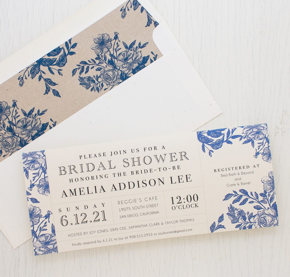 Blue Boquet Bridal Shower Invitations