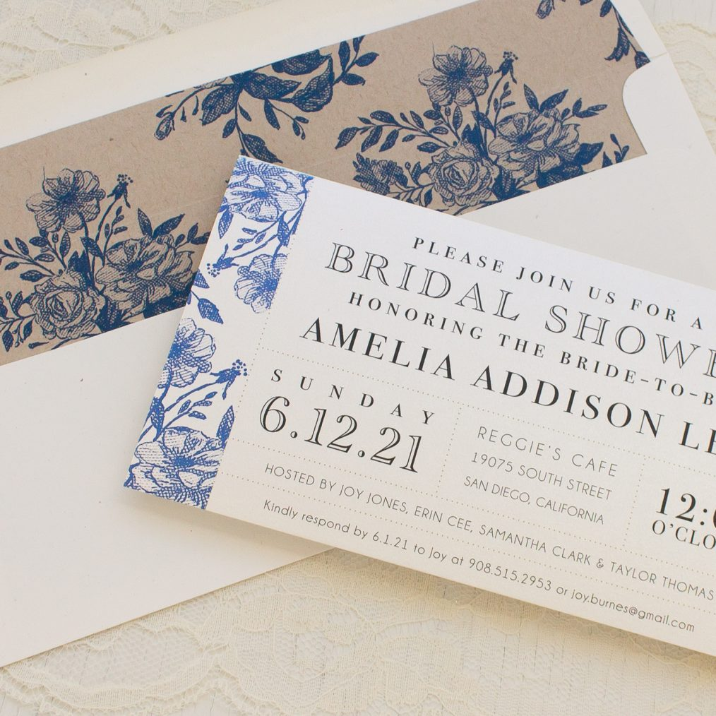 Blue Bouquet Bridal Shower Invitations