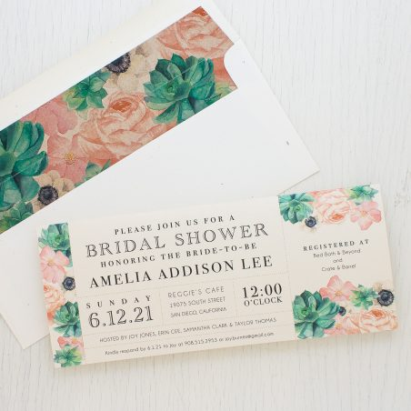 Blush Succulent Bridal Shower Invitations