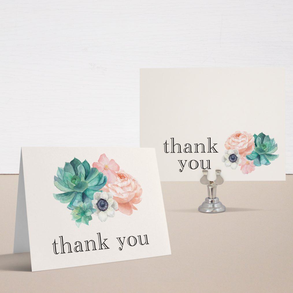 Blush Succulent Bridal Shower Thank You Cards