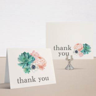 Blush Succulent Thank You Cards