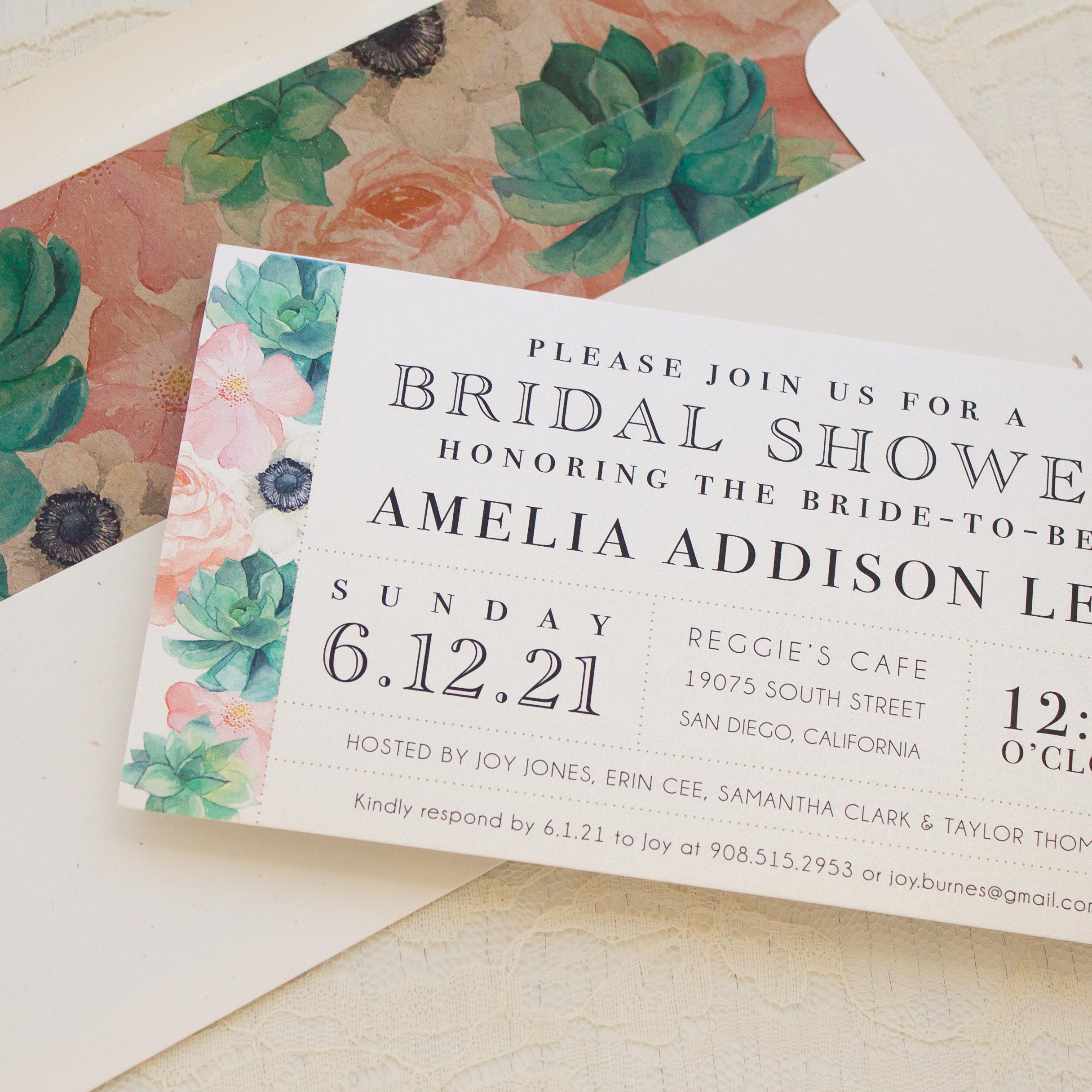 Blush Succulent Bridal Shower Invitations