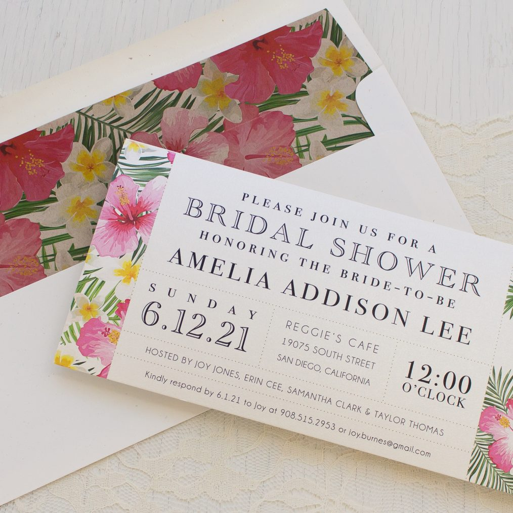 Bright Tropical Bridal Shower Invitations